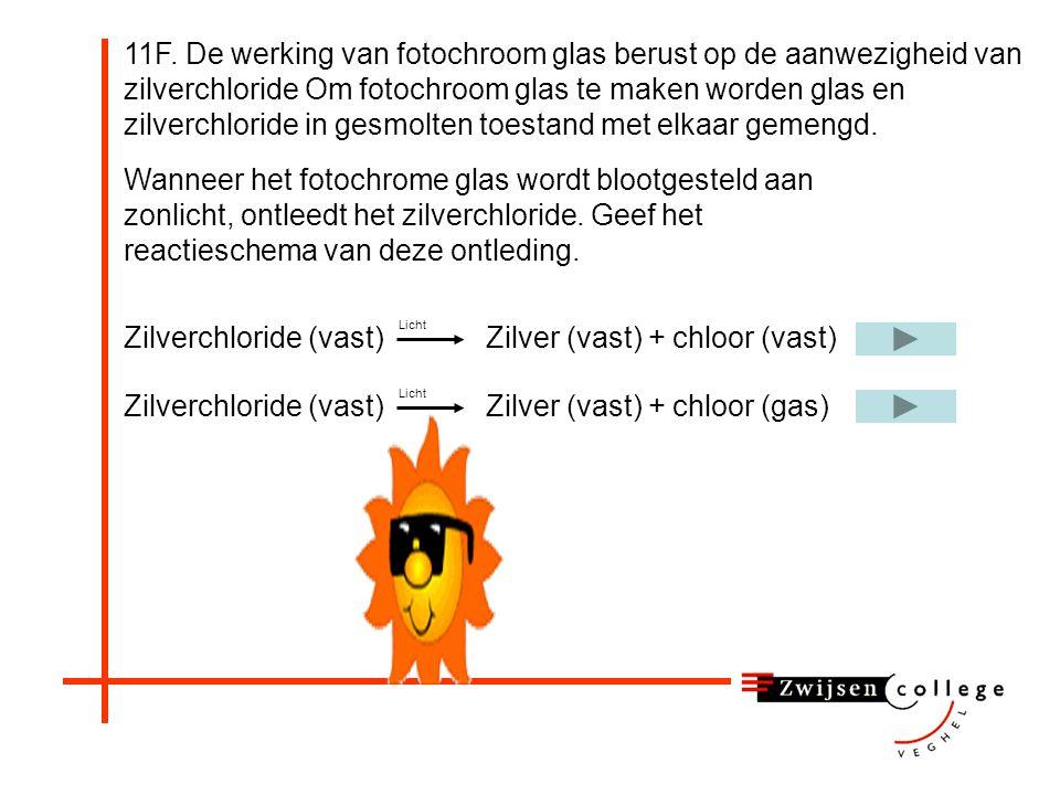 Zilverchloride (vast) Zilver (vast) + chloor (vast)