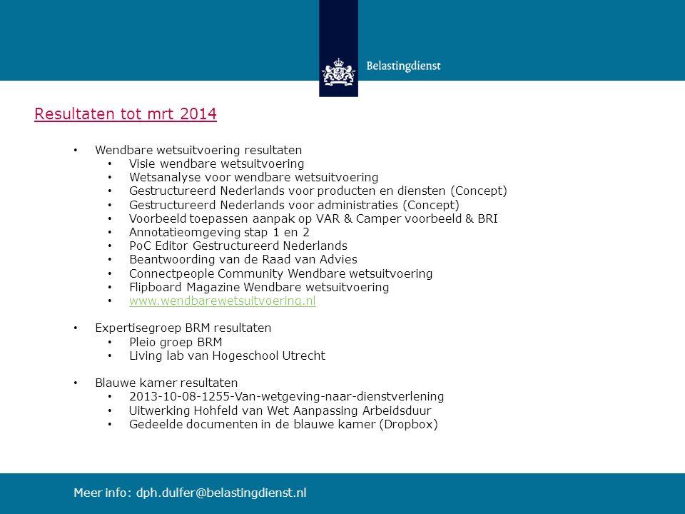 Resultaten tot mrt 2014 Wendbare wetsuitvoering resultaten