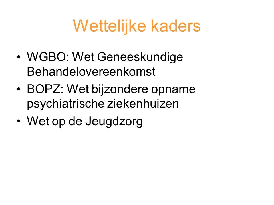 Wettelijke kaders WGBO: Wet Geneeskundige Behandelovereenkomst