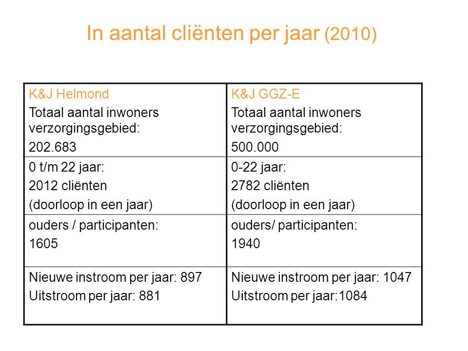 In aantal cliënten per jaar (2010)