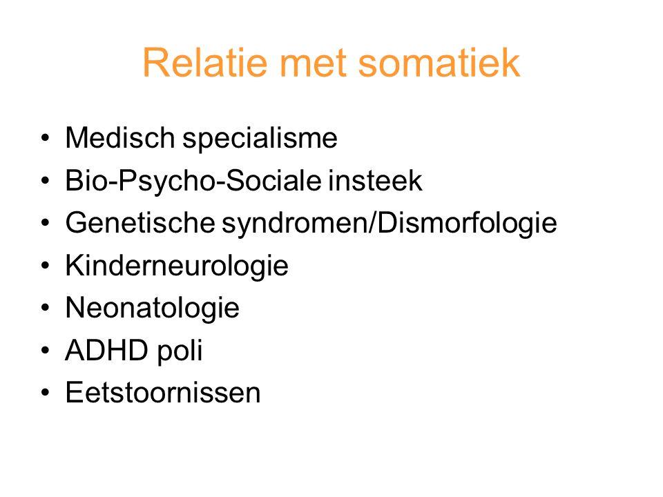 Relatie met somatiek Medisch specialisme Bio-Psycho-Sociale insteek
