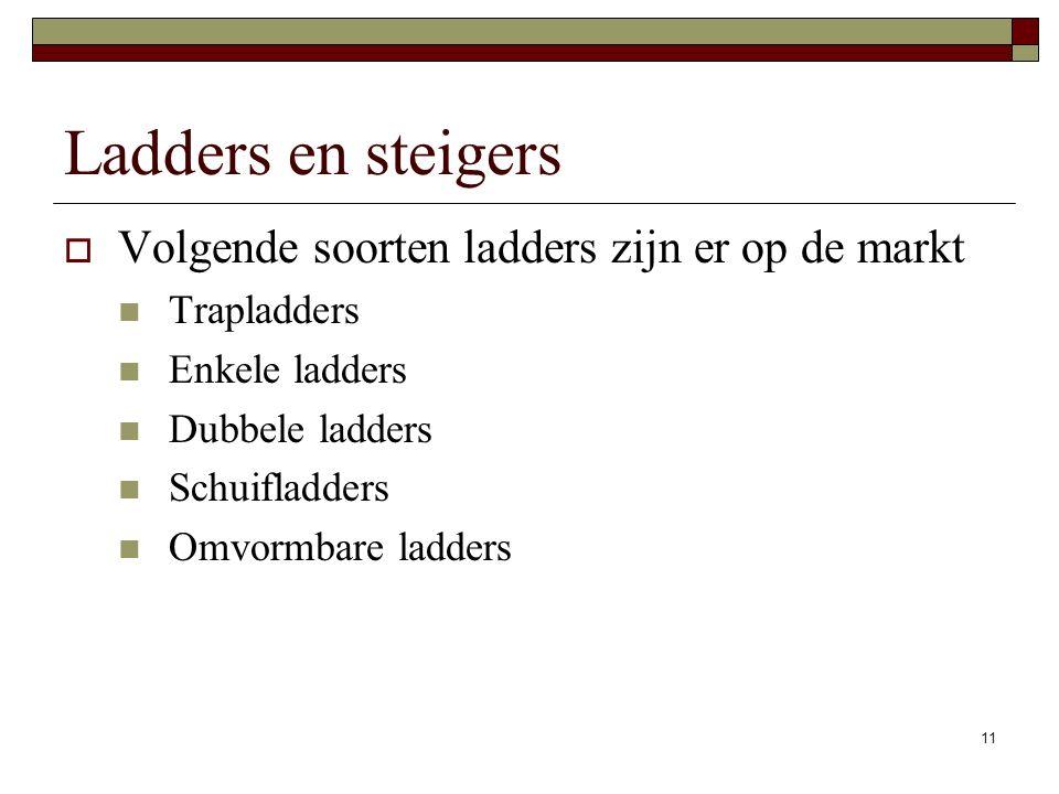 Ladders en steigers Volgende soorten ladders zijn er op de markt