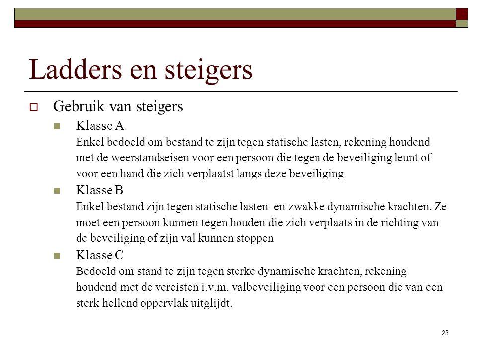 Ladders en steigers Gebruik van steigers Klasse A Klasse B Klasse C