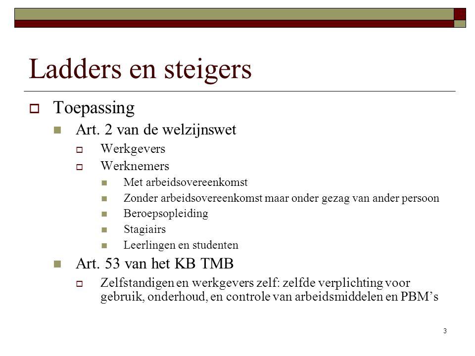 Ladders en steigers Toepassing Art. 2 van de welzijnswet