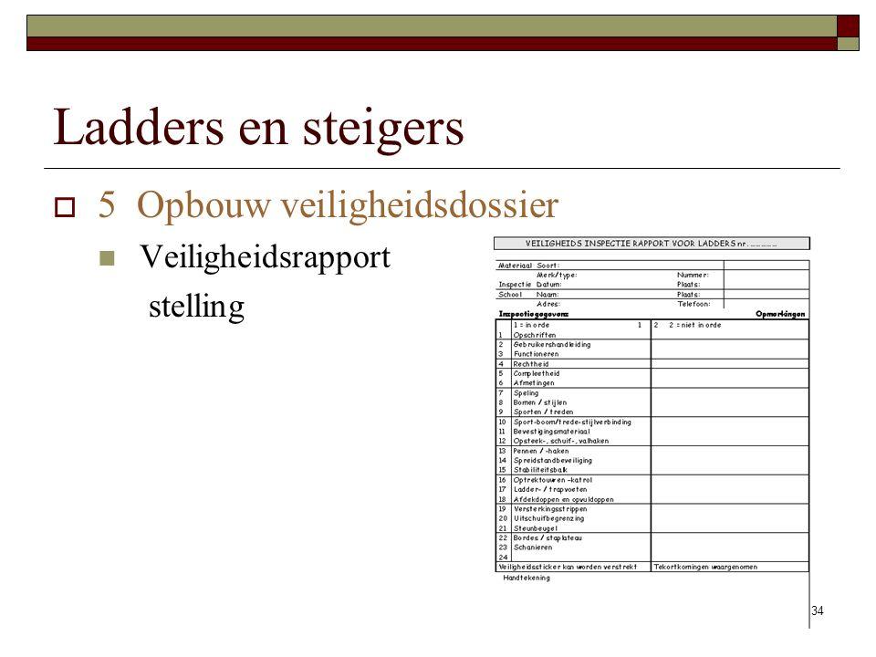 Ladders en steigers 5 Opbouw veiligheidsdossier Veiligheidsrapport
