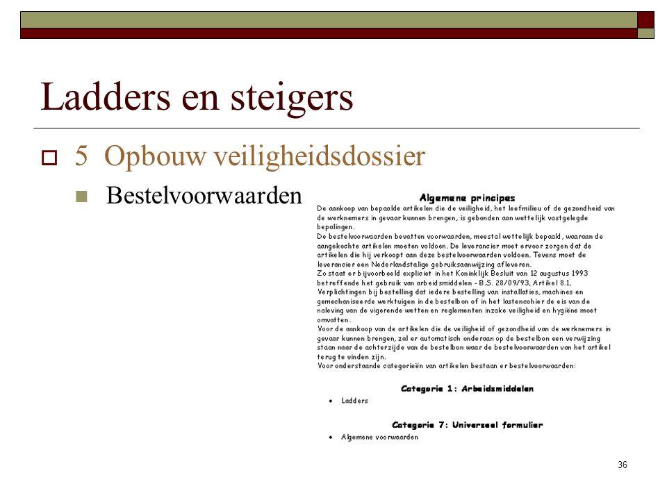 Ladders en steigers 5 Opbouw veiligheidsdossier Bestelvoorwaarden