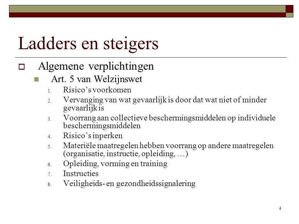 Ladders en steigers Algemene verplichtingen Art. 5 van Welzijnswet