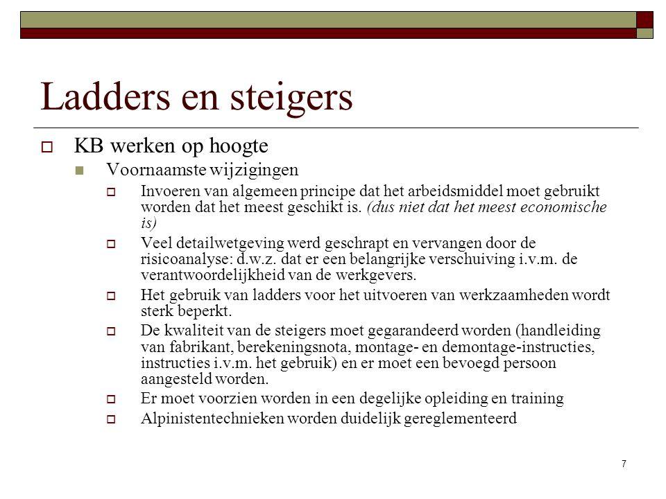 Ladders en steigers KB werken op hoogte Voornaamste wijzigingen