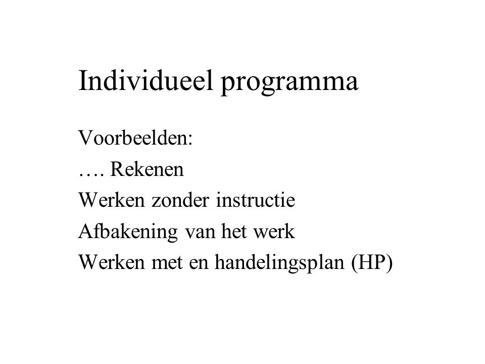 Individueel programma