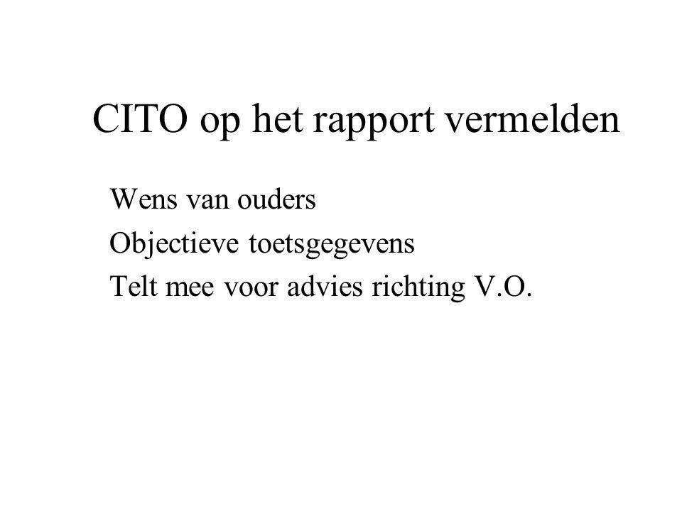 CITO op het rapport vermelden