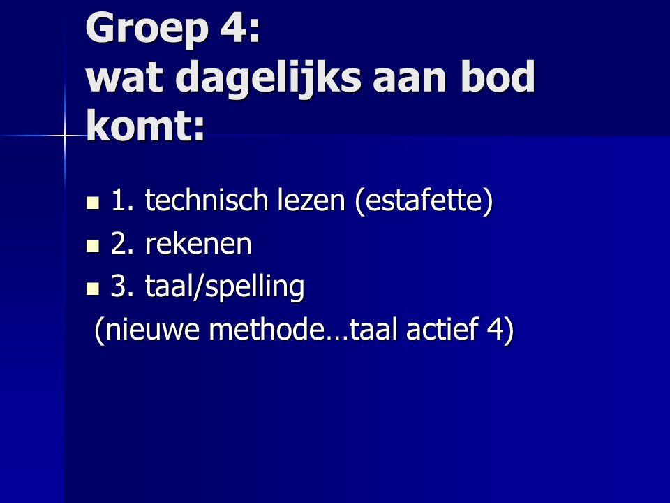 Groep 4: wat dagelijks aan bod komt: