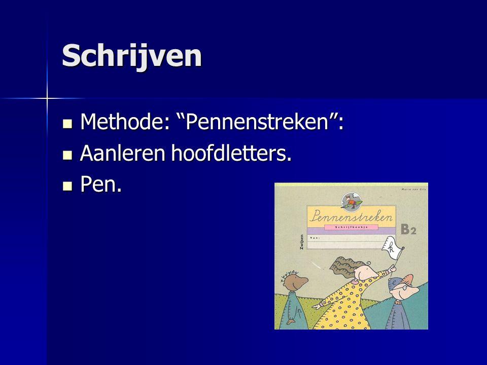 Schrijven Methode: Pennenstreken : Aanleren hoofdletters. Pen.
