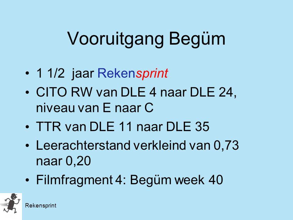 Vooruitgang Begüm 1 1/2 jaar Rekensprint