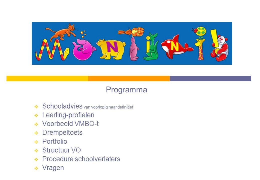 Programma Schooladvies van voorlopig naar definitief