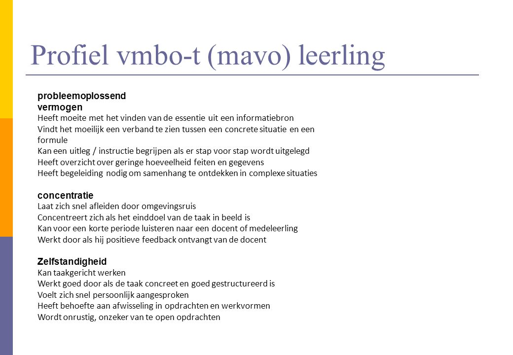 Profiel vmbo-t (mavo) leerling