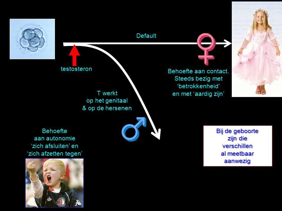 Default testosteron. Behoefte aan contact. Steeds bezig met 'betrokkenheid' en met 'aardig zijn' T werkt op het genitaal & op de hersenen.