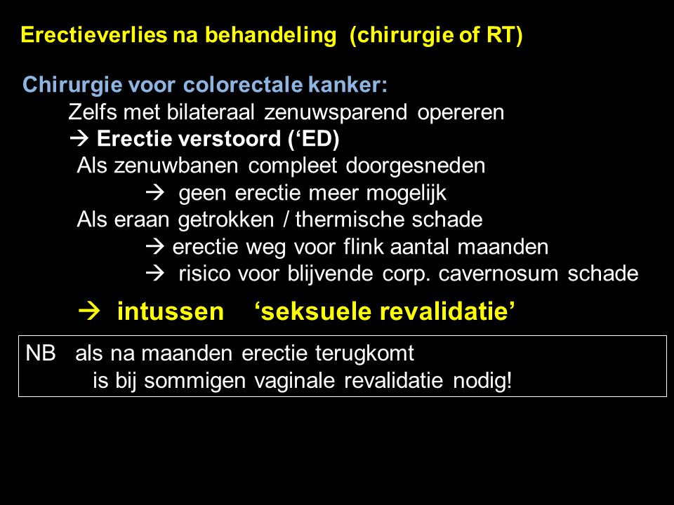 Erectieverlies na behandeling (chirurgie of RT)