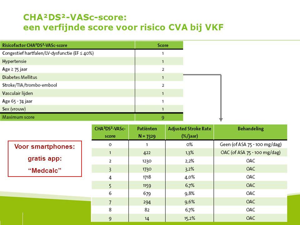 CHA²DS²-VASc-score: een verfijnde score voor risico CVA bij VKF