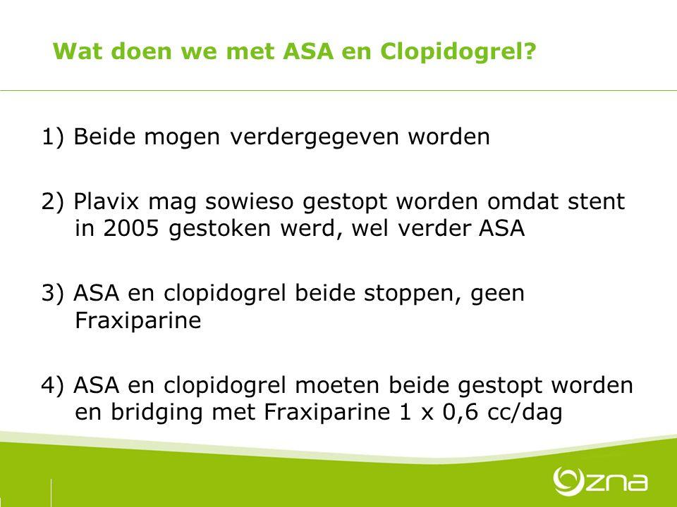 Wat doen we met ASA en Clopidogrel