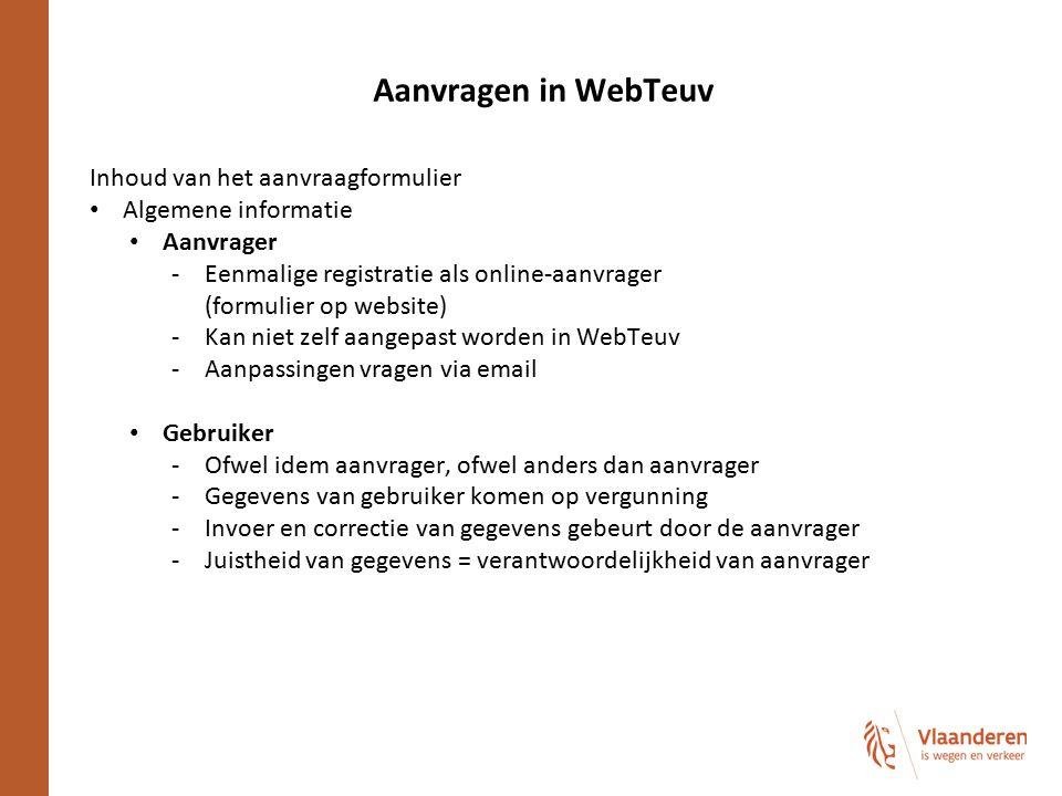 Aanvragen in WebTeuv Inhoud van het aanvraagformulier