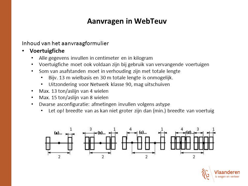 Aanvragen in WebTeuv Inhoud van het aanvraagformulier Voertuigfiche