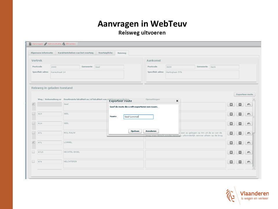 Aanvragen in WebTeuv Reisweg uitvoeren