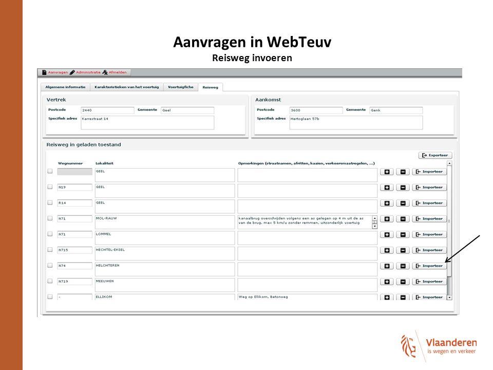 Aanvragen in WebTeuv Reisweg invoeren