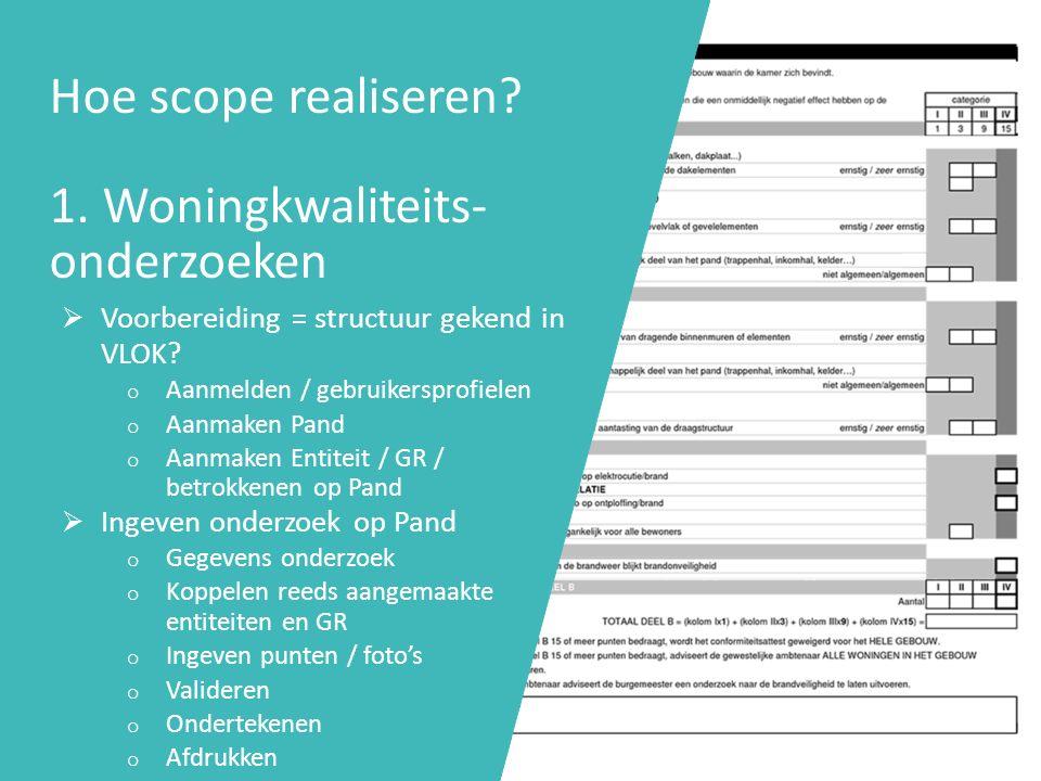 Hoe scope realiseren 1. Woningkwaliteits-onderzoeken