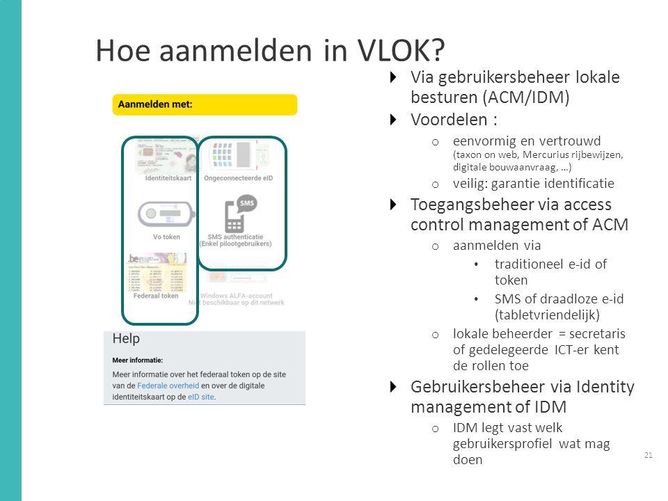 Hoe aanmelden in VLOK Via gebruikersbeheer lokale besturen (ACM/IDM)