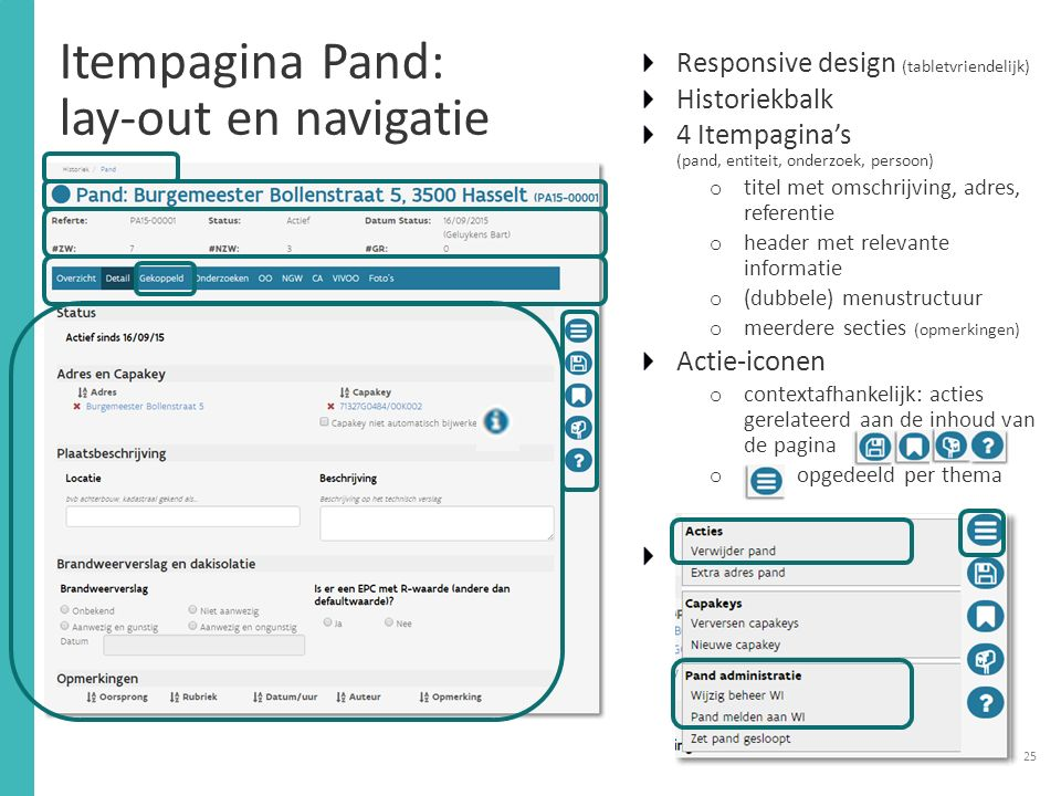Itempagina Pand: lay-out en navigatie