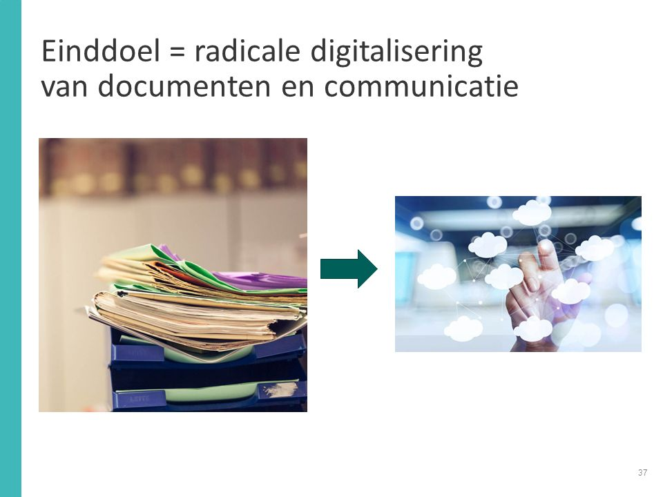 Einddoel = radicale digitalisering van documenten en communicatie