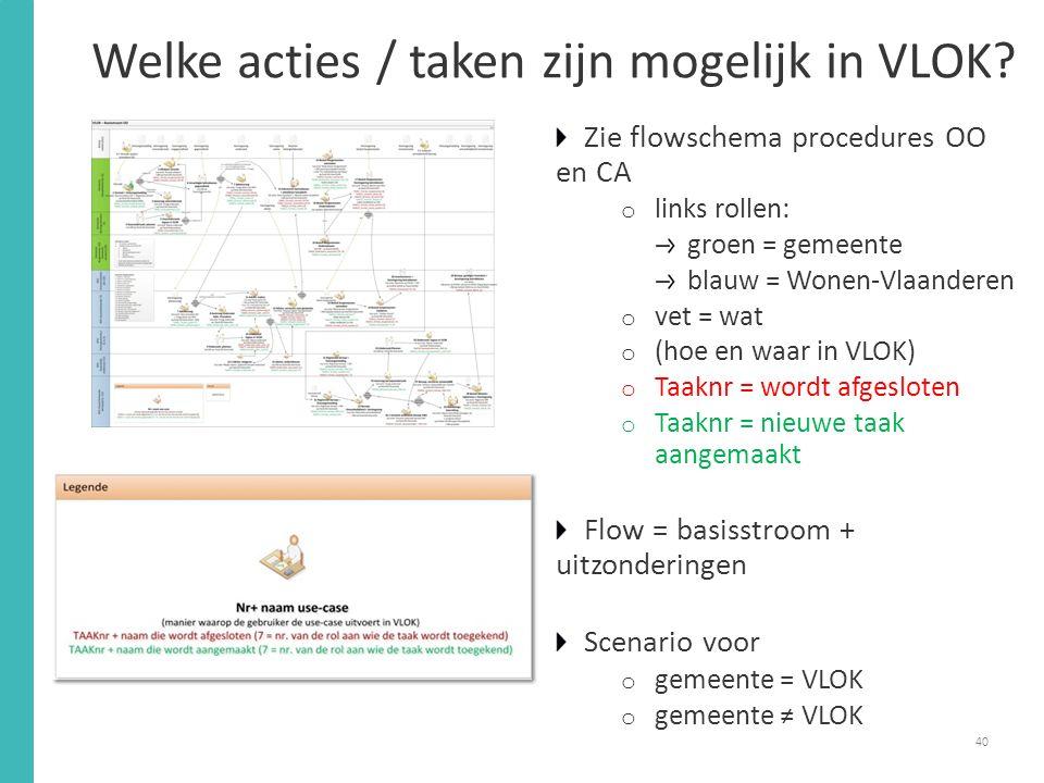 Welke acties / taken zijn mogelijk in VLOK