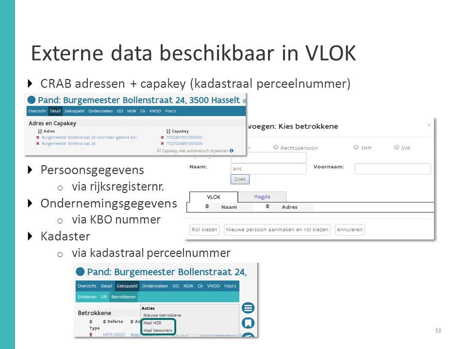 Externe data beschikbaar in VLOK