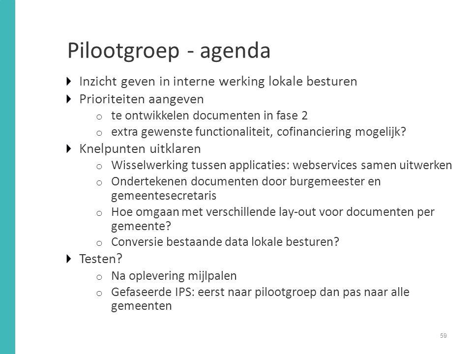 Pilootgroep - agenda Inzicht geven in interne werking lokale besturen