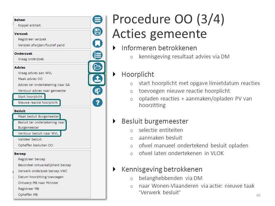 Procedure OO (3/4) Acties gemeente