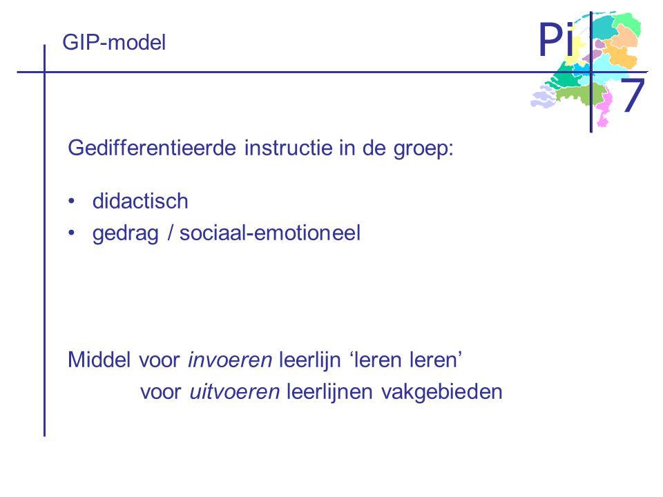 GIP-model Gedifferentieerde instructie in de groep: didactisch. gedrag / sociaal-emotioneel. Middel voor invoeren leerlijn 'leren leren'