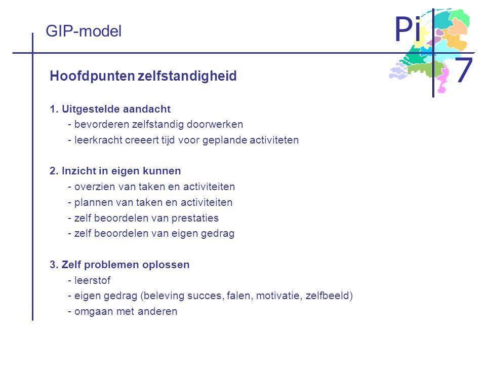GIP-model Hoofdpunten zelfstandigheid 1. Uitgestelde aandacht