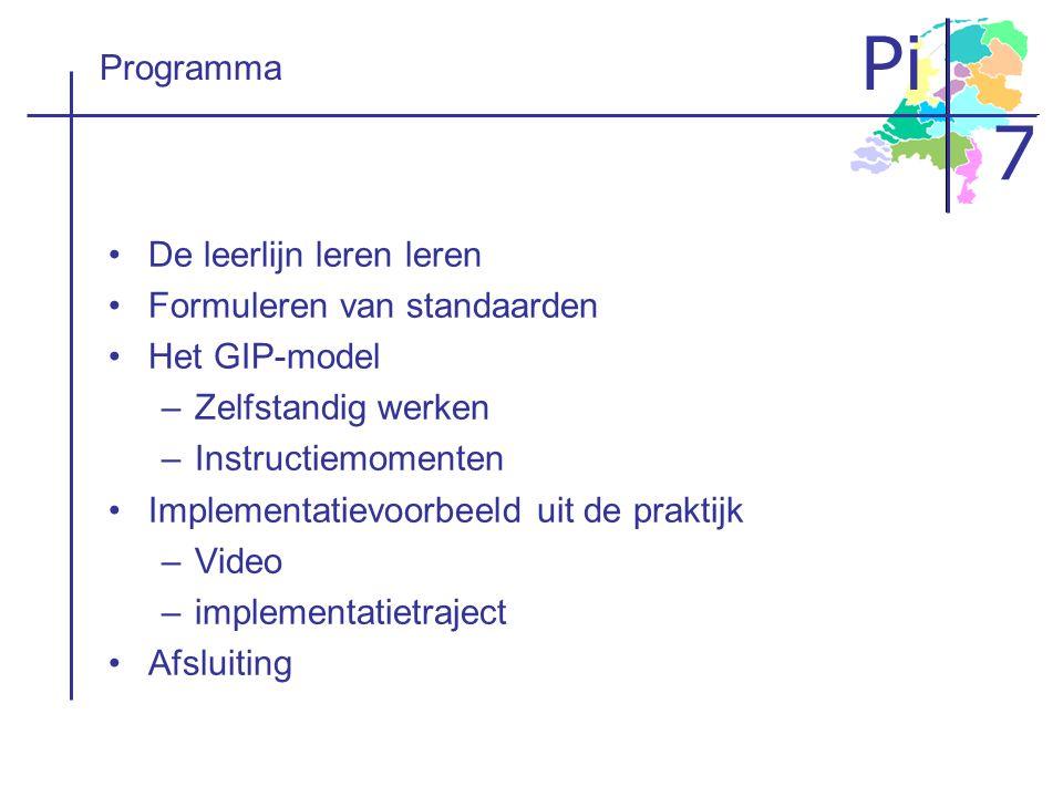 Programma De leerlijn leren leren. Formuleren van standaarden. Het GIP-model. Zelfstandig werken.