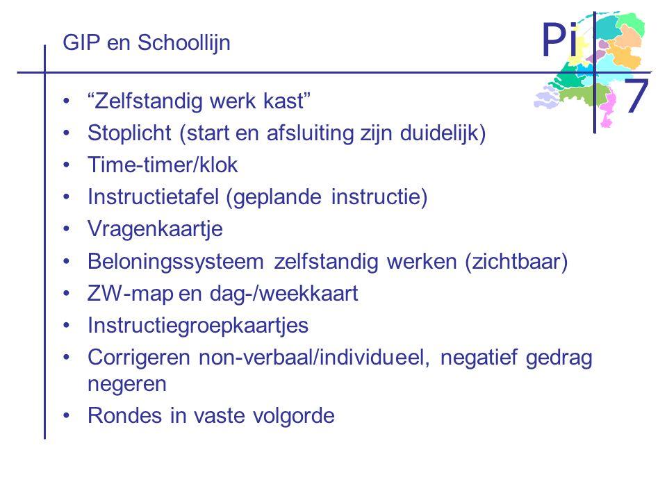 GIP en Schoollijn Zelfstandig werk kast Stoplicht (start en afsluiting zijn duidelijk) Time-timer/klok.