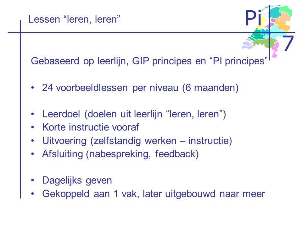 Lessen leren, leren Gebaseerd op leerlijn, GIP principes en PI principes 24 voorbeeldlessen per niveau (6 maanden)