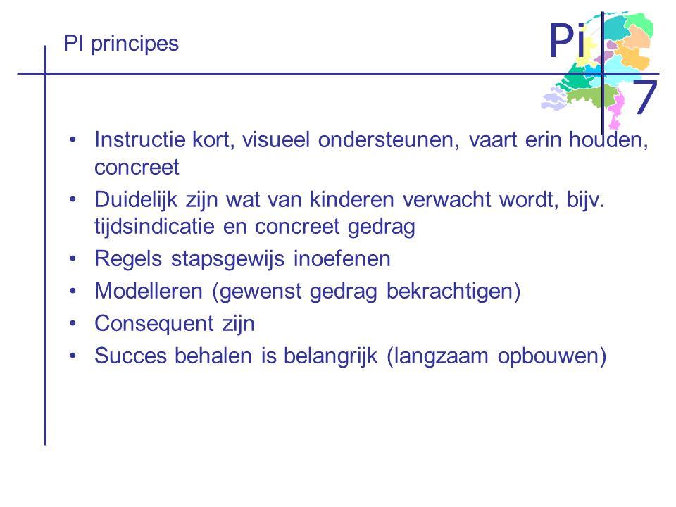 PI principes Instructie kort, visueel ondersteunen, vaart erin houden, concreet.