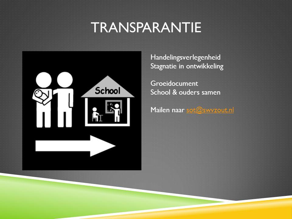 transparantie Handelingsverlegenheid Stagnatie in ontwikkeling