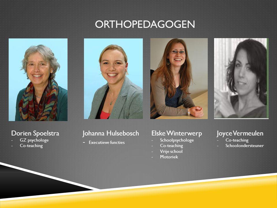 ORTHOPEDAGOGEN Dorien Spoelstra Johanna Hulsebosch