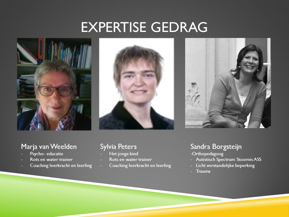 Expertise Gedrag Marja van Weelden Sylvia Peters Sandra Borgsteijn