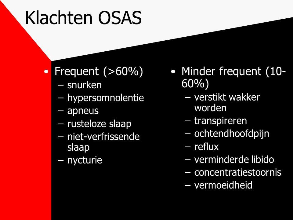 Klachten OSAS Frequent (>60%) Minder frequent (10-60%) snurken