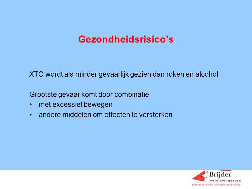 Gezondheidsrisico's XTC wordt als minder gevaarlijk gezien dan roken en alcohol. Grootste gevaar komt door combinatie.