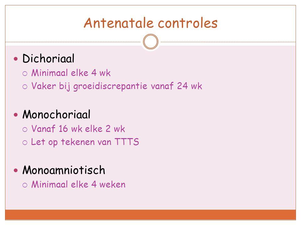 Antenatale controles Dichoriaal Monochoriaal Monoamniotisch