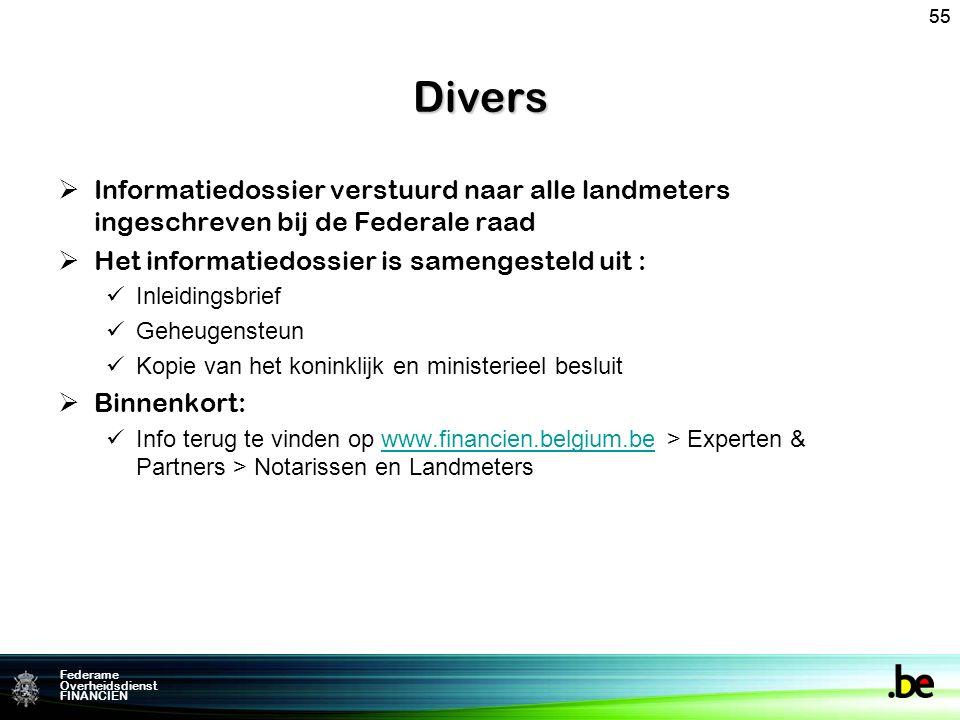 Divers 55. Informatiedossier verstuurd naar alle landmeters ingeschreven bij de Federale raad. Het informatiedossier is samengesteld uit :