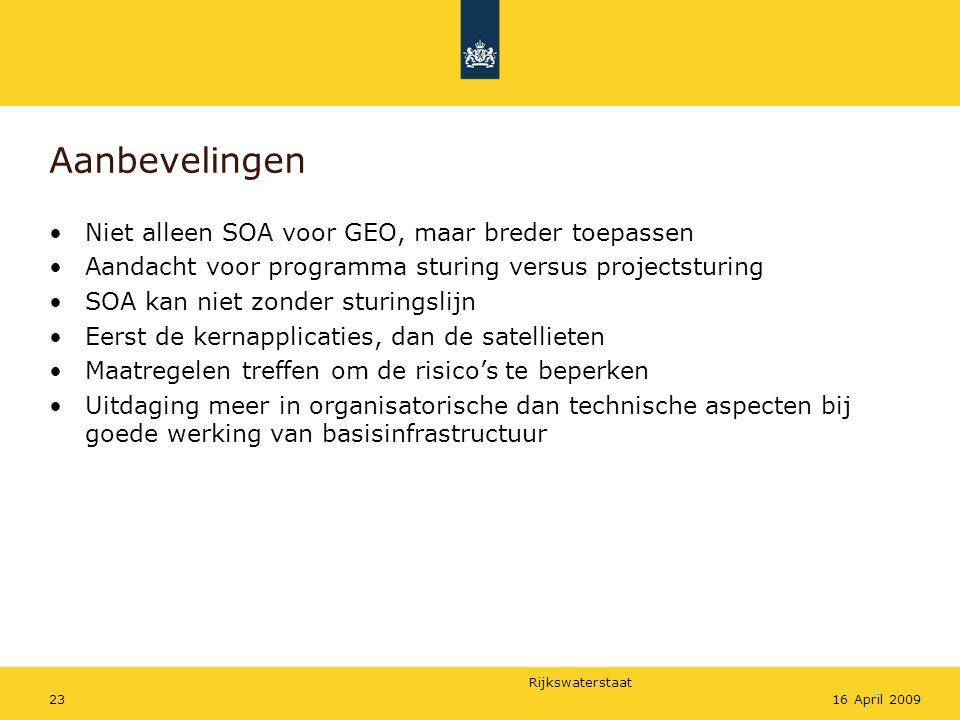 Aanbevelingen Niet alleen SOA voor GEO, maar breder toepassen