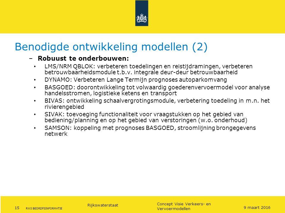 Benodigde ontwikkeling modellen (2)